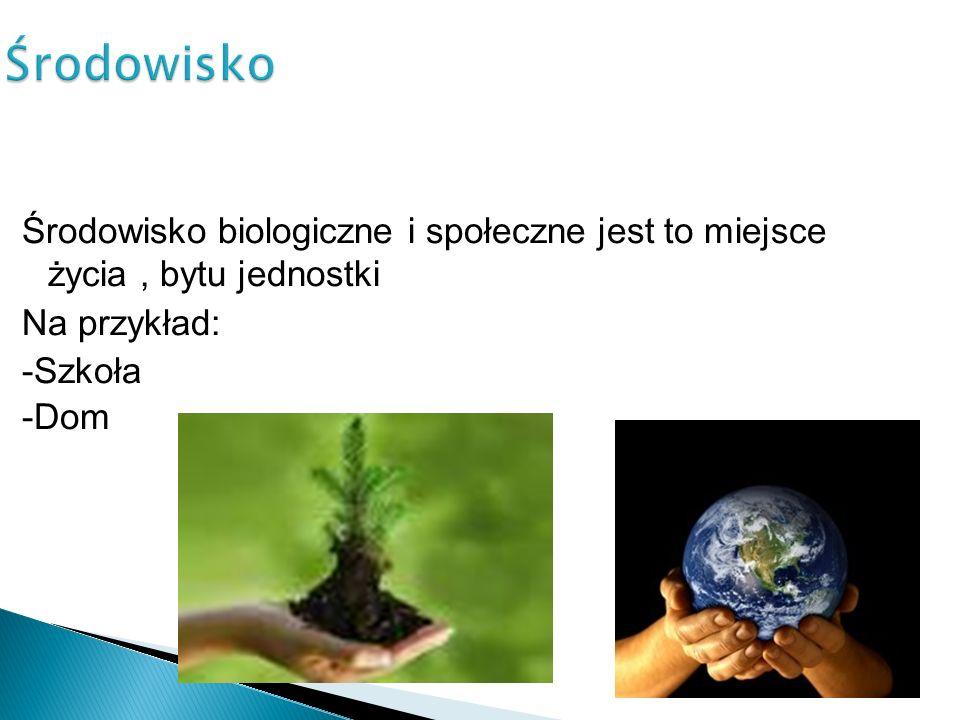 Środowisko Środowisko biologiczne i społeczne jest to miejsce życia , bytu jednostki Na przykład: -Szkoła -Dom