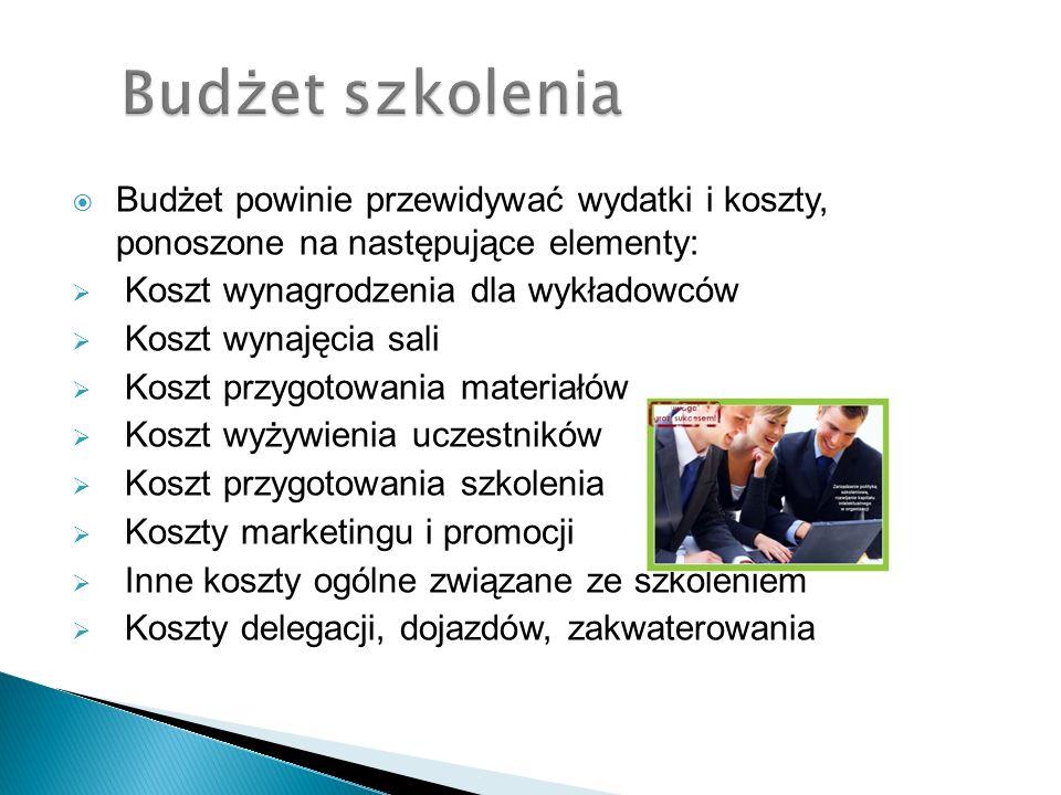 Budżet szkolenia Budżet powinie przewidywać wydatki i koszty, ponoszone na następujące elementy: Koszt wynagrodzenia dla wykładowców.