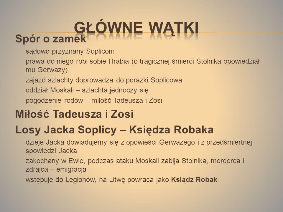 Główne wątki Spór o zamek Miłość Tadeusza i Zosi