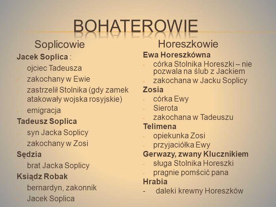 Bohaterowie Soplicowie Horeszkowie Jacek Soplica : ojciec Tadeusza
