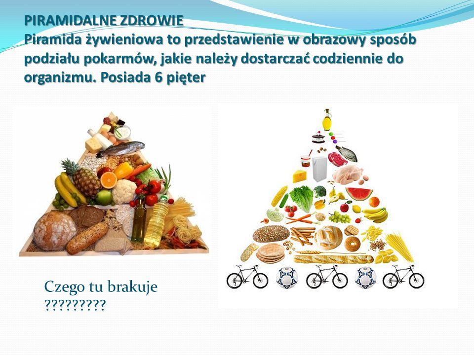 PIRAMIDALNE ZDROWIE Piramida żywieniowa to przedstawienie w obrazowy sposób podziału pokarmów, jakie należy dostarczać codziennie do organizmu. Posiada 6 pięter
