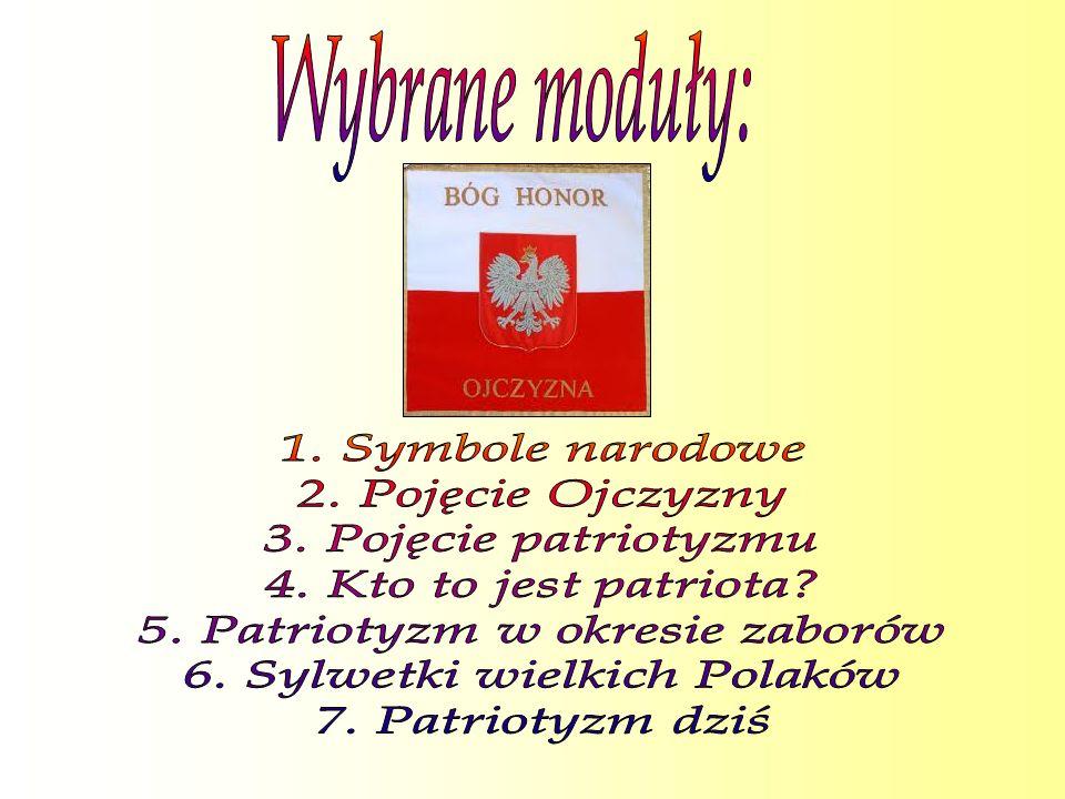 5. Patriotyzm w okresie zaborów 6. Sylwetki wielkich Polaków