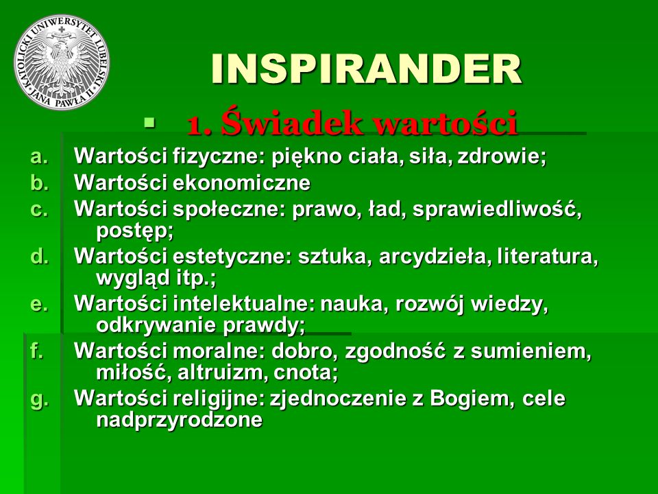 INSPIRANDER 1. Świadek wartości
