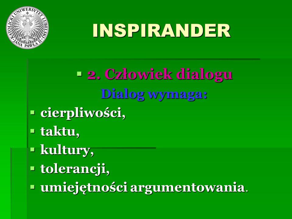 INSPIRANDER 2. Człowiek dialogu Dialog wymaga: cierpliwości, taktu,