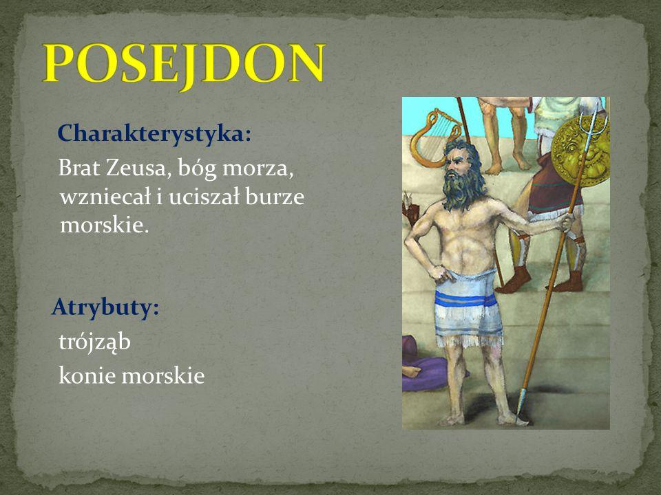 POSEJDON Charakterystyka: Brat Zeusa, bóg morza, wzniecał i uciszał burze morskie.