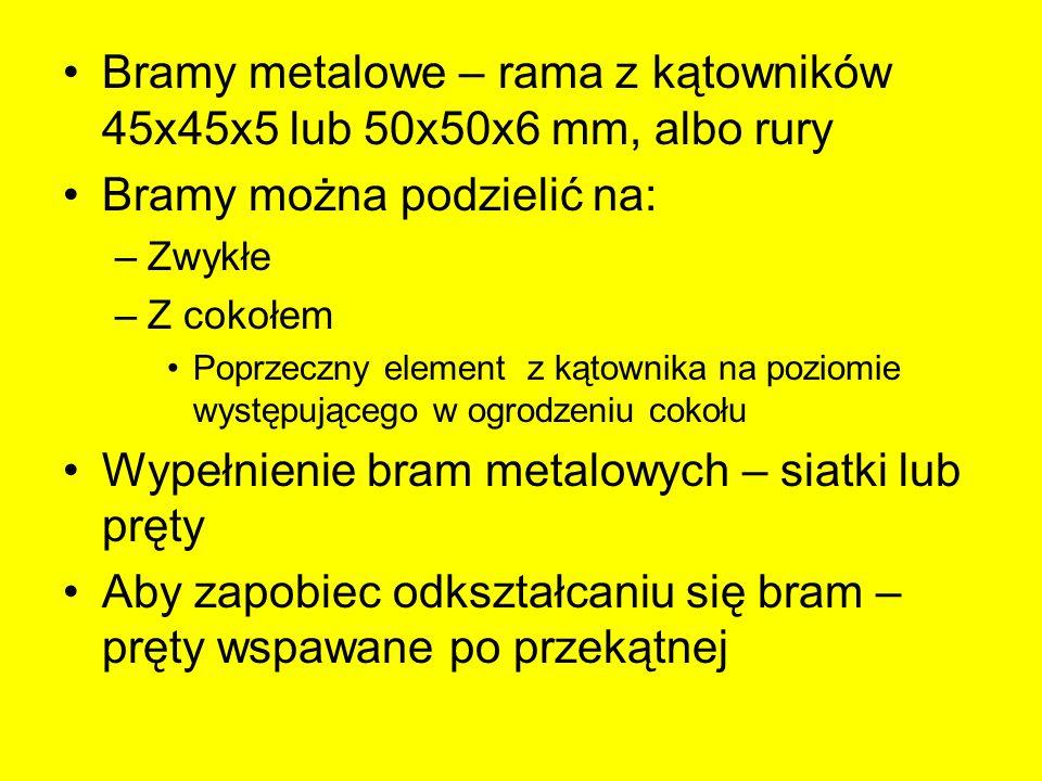 Bramy metalowe – rama z kątowników 45x45x5 lub 50x50x6 mm, albo rury