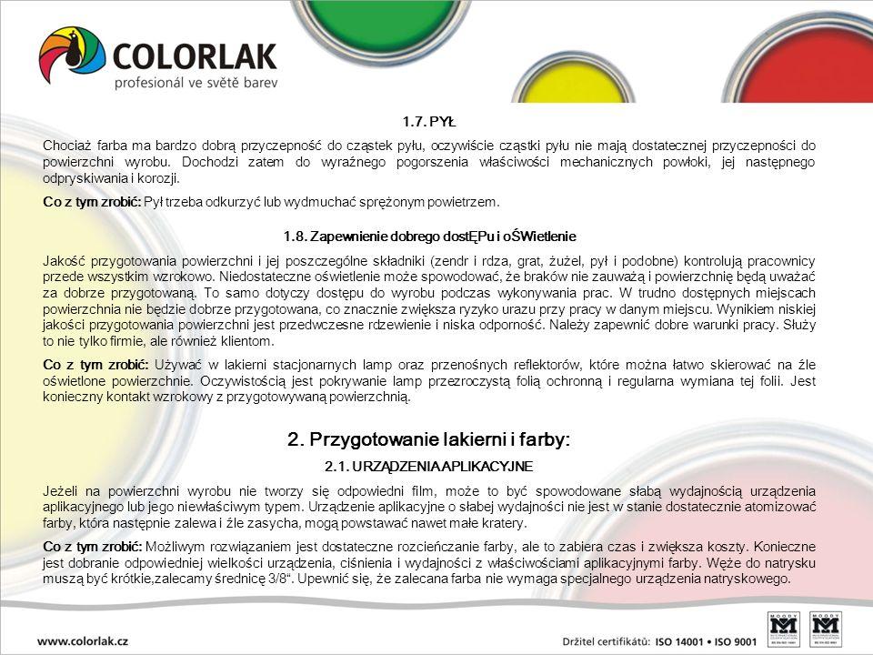 2. Przygotowanie lakierni i farby: