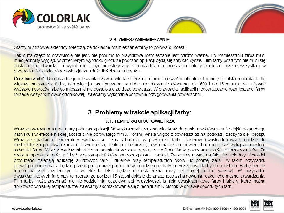 3. Problemy w trakcie aplikacji farby: