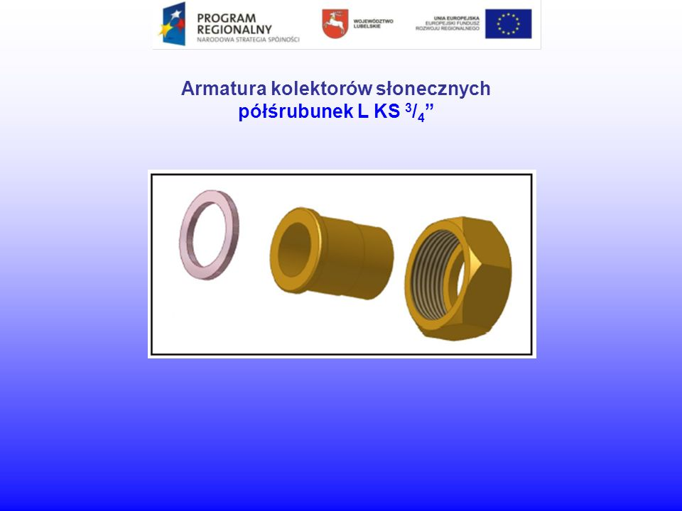 Armatura kolektorów słonecznych półśrubunek L KS 3/4