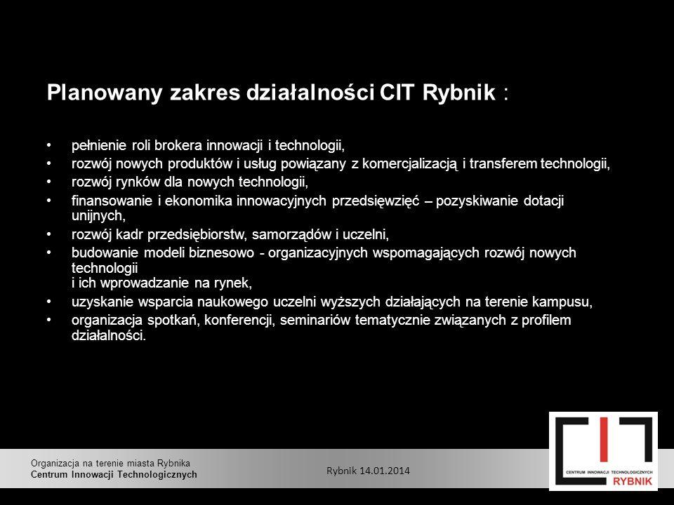 Planowany zakres działalności CIT Rybnik :