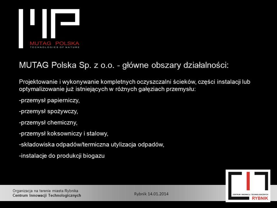 MUTAG Polska Sp. z o.o. - główne obszary działalności: