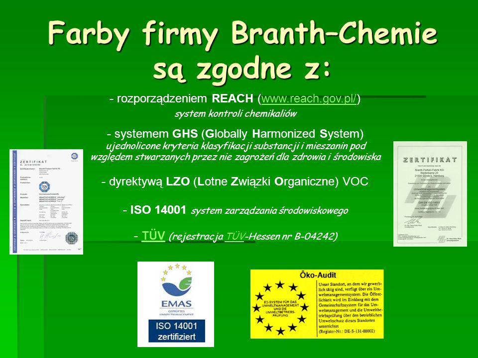 Farby firmy Branth–Chemie są zgodne z:
