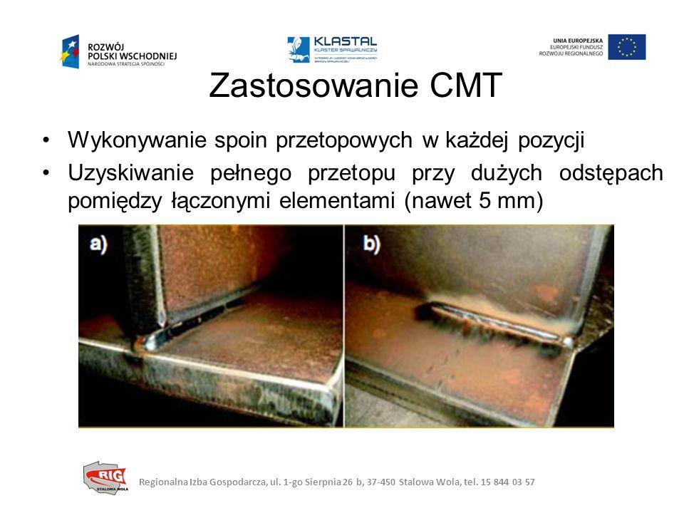 Zastosowanie CMT Wykonywanie spoin przetopowych w każdej pozycji