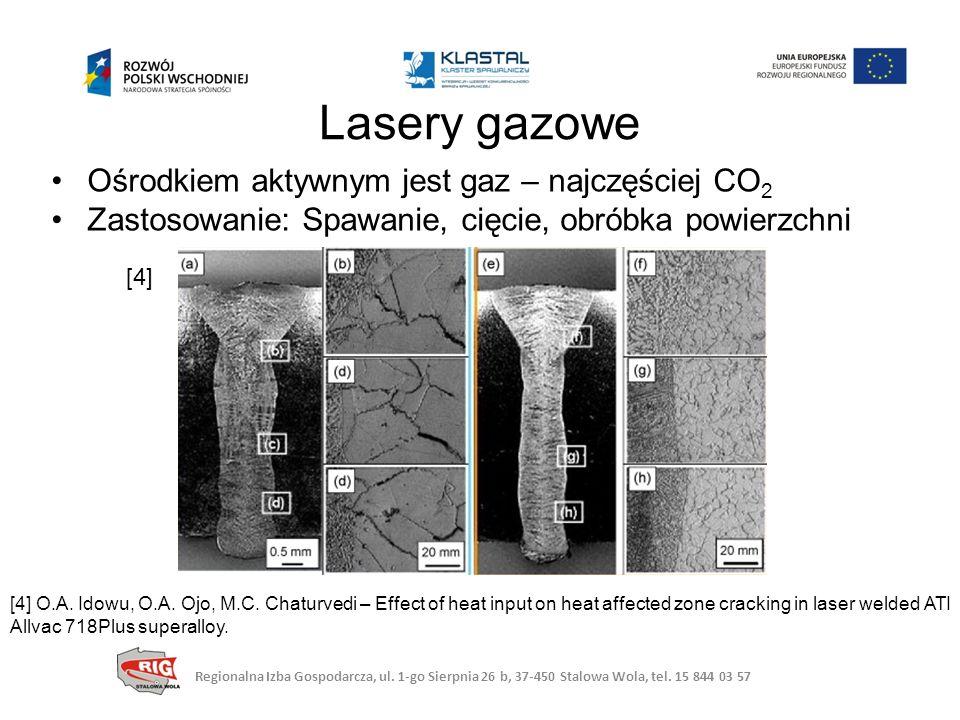Lasery gazowe Ośrodkiem aktywnym jest gaz – najczęściej CO2