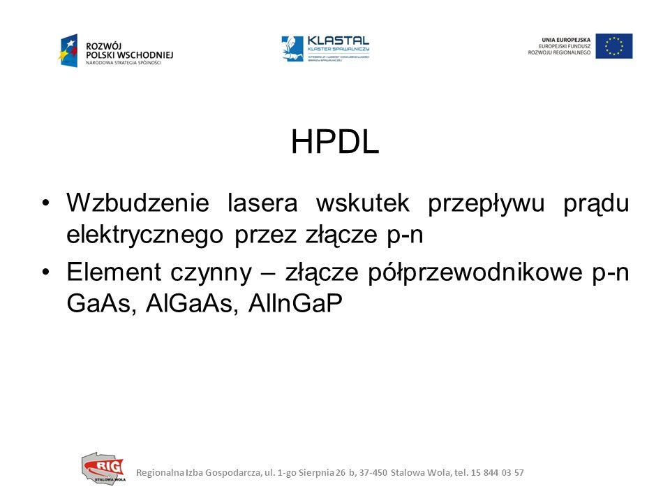HPDL Wzbudzenie lasera wskutek przepływu prądu elektrycznego przez złącze p-n. Element czynny – złącze półprzewodnikowe p-n GaAs, AlGaAs, AlInGaP.