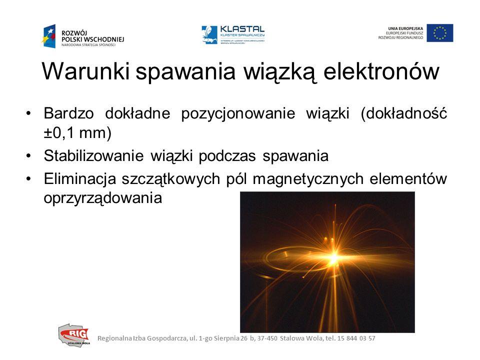 Warunki spawania wiązką elektronów