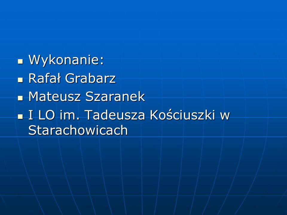Wykonanie: Rafał Grabarz Mateusz Szaranek I LO im. Tadeusza Kościuszki w Starachowicach
