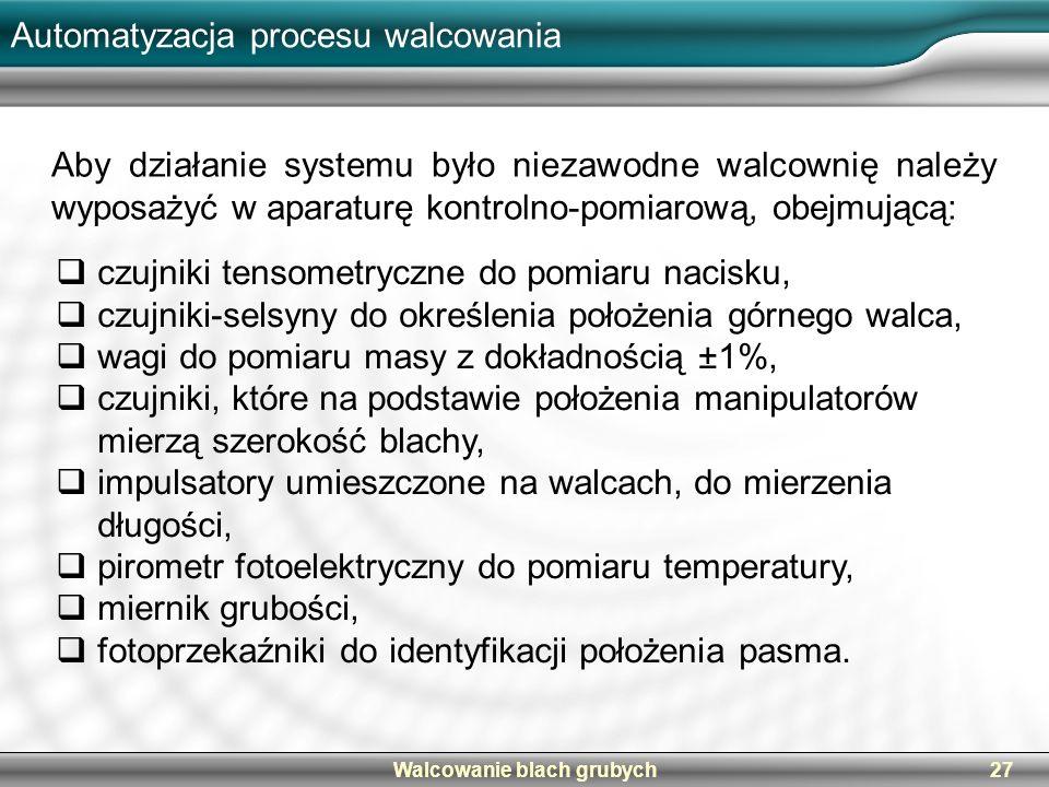 Automatyzacja procesu walcowania