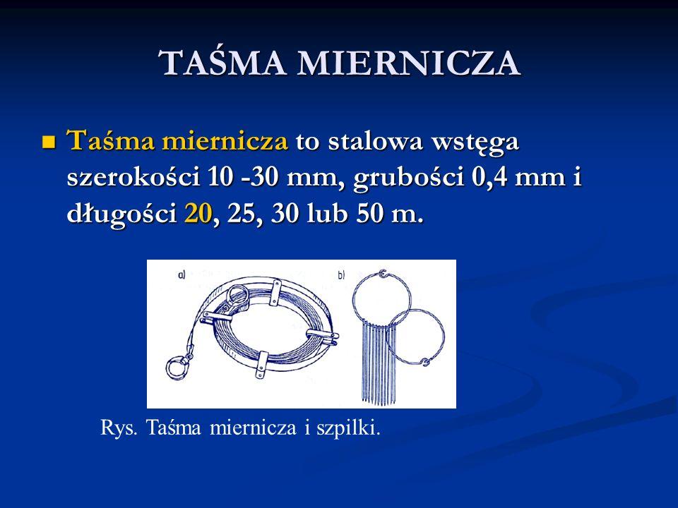 TAŚMA MIERNICZA Taśma miernicza to stalowa wstęga szerokości 10 -30 mm, grubości 0,4 mm i długości 20, 25, 30 lub 50 m.