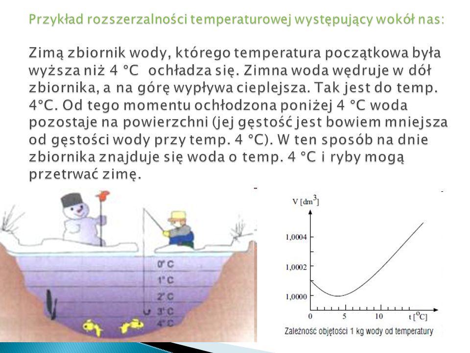Przykład rozszerzalności temperaturowej występujący wokół nas: Zimą zbiornik wody, którego temperatura początkowa była wyższa niż 4 °C ochładza się.