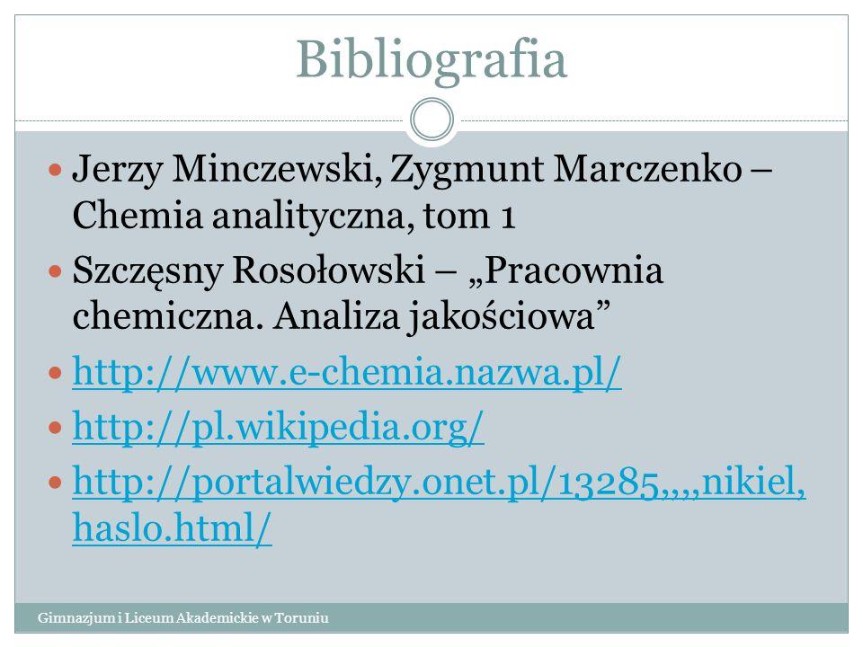 """Bibliografia Jerzy Minczewski, Zygmunt Marczenko – Chemia analityczna, tom 1. Szczęsny Rosołowski – """"Pracownia chemiczna. Analiza jakościowa"""