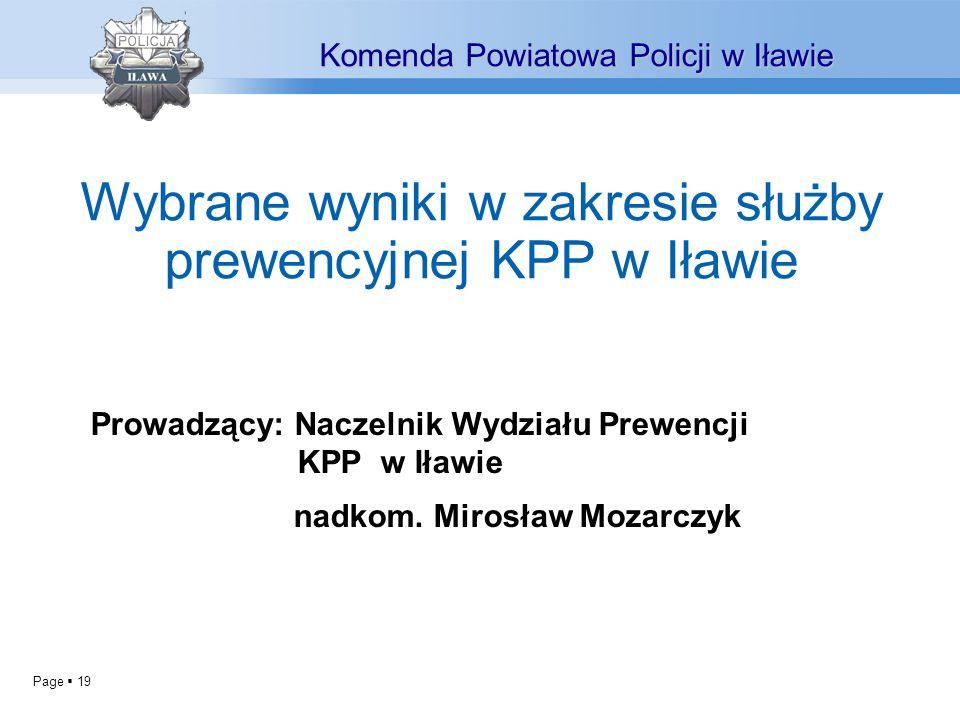 Wybrane wyniki w zakresie służby prewencyjnej KPP w Iławie