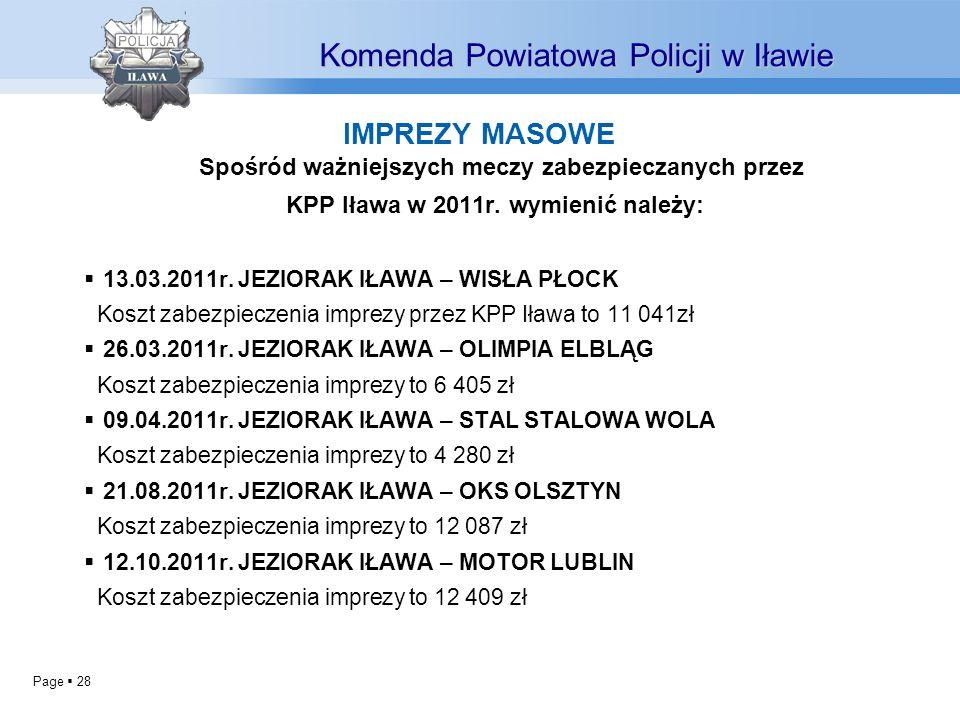 KPP Iława w 2011r. wymienić należy: