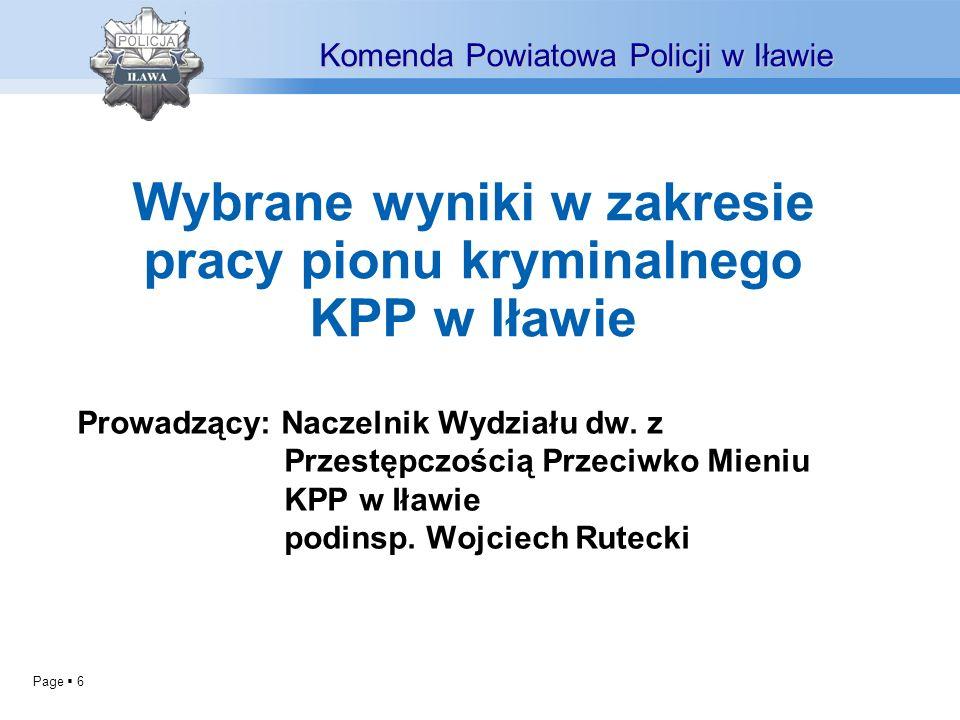 Wybrane wyniki w zakresie pracy pionu kryminalnego KPP w Iławie