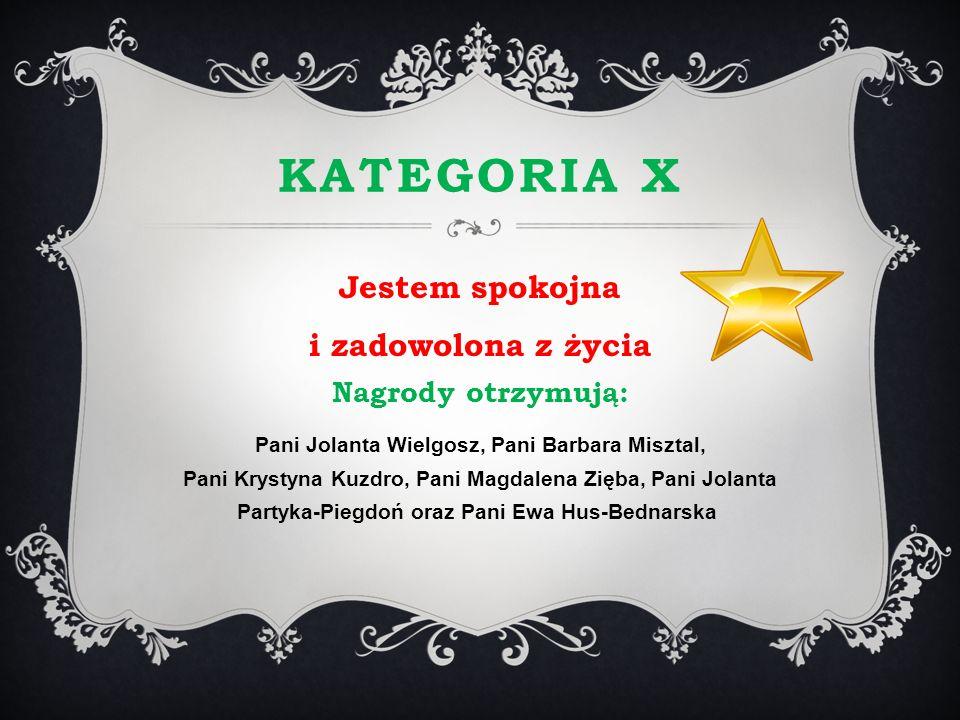 Kategoria X Jestem spokojna i zadowolona z życia Nagrody otrzymują: