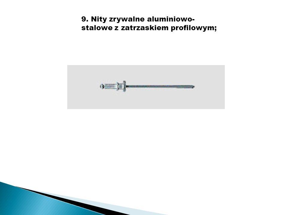 9. Nity zrywalne aluminiowo-stalowe z zatrzaskiem profilowym;