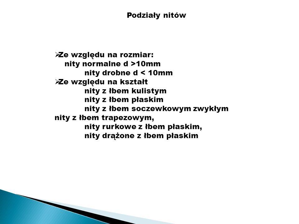 Podziały nitów Ze względu na rozmiar: nity normalne d >10mm. nity drobne d < 10mm. Ze względu na kształt.