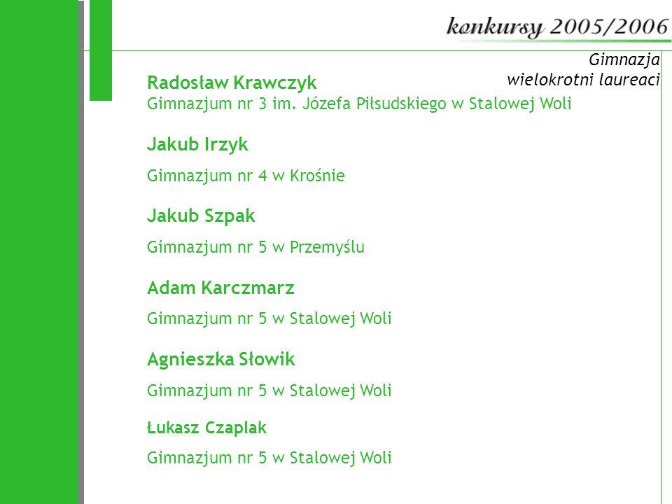 Gimnazja wielokrotni laureaci. Radosław Krawczyk Gimnazjum nr 3 im. Józefa Piłsudskiego w Stalowej Woli.