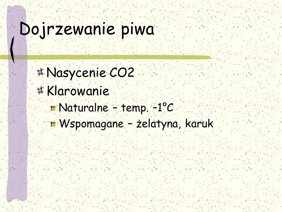 Dojrzewanie piwa Nasycenie CO2 Klarowanie Naturalne – temp. –1°C