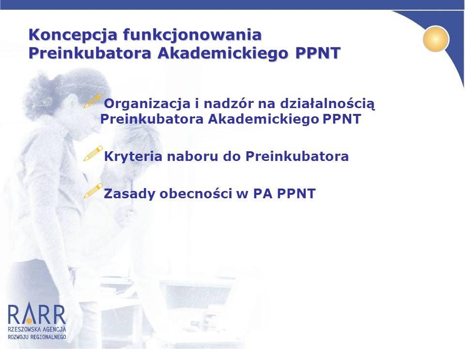 Koncepcja funkcjonowania Preinkubatora Akademickiego PPNT