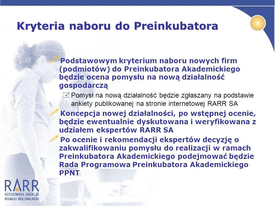 Kryteria naboru do Preinkubatora
