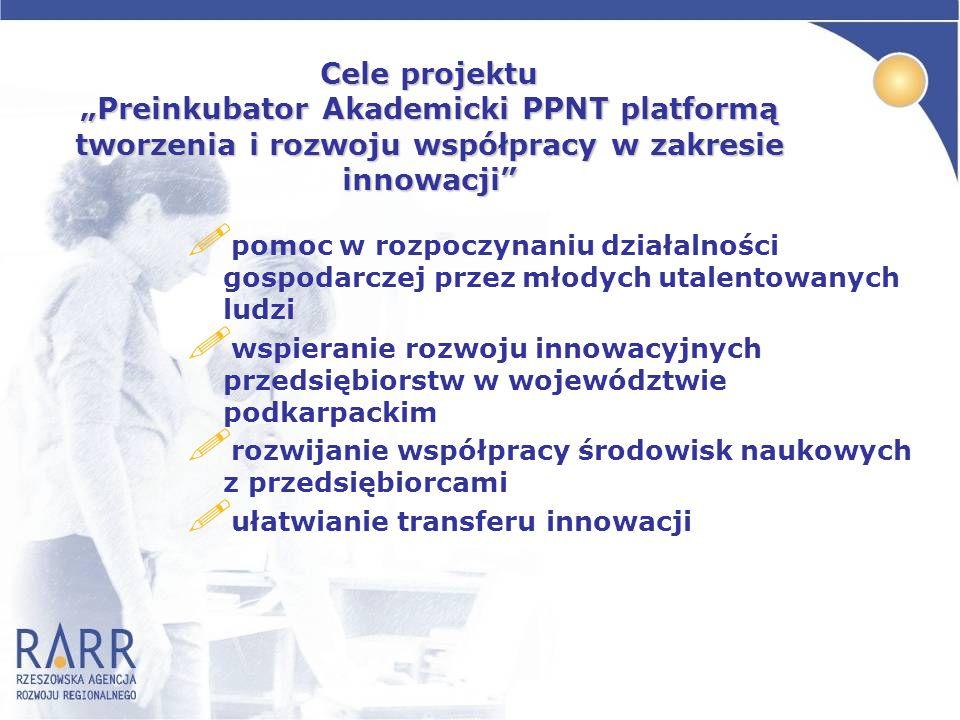 """Cele projektu """"Preinkubator Akademicki PPNT platformą tworzenia i rozwoju współpracy w zakresie innowacji"""