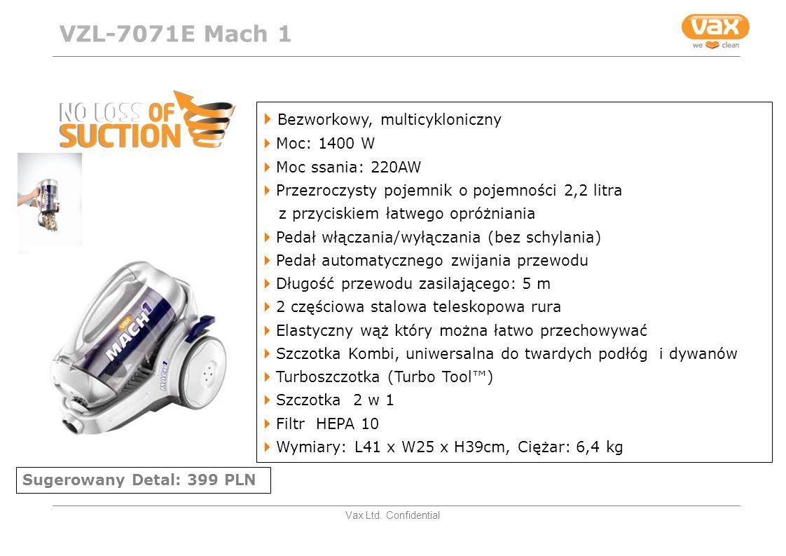 VZL-7071E Mach 1 Bezworkowy, multicykloniczny Moc: 1400 W