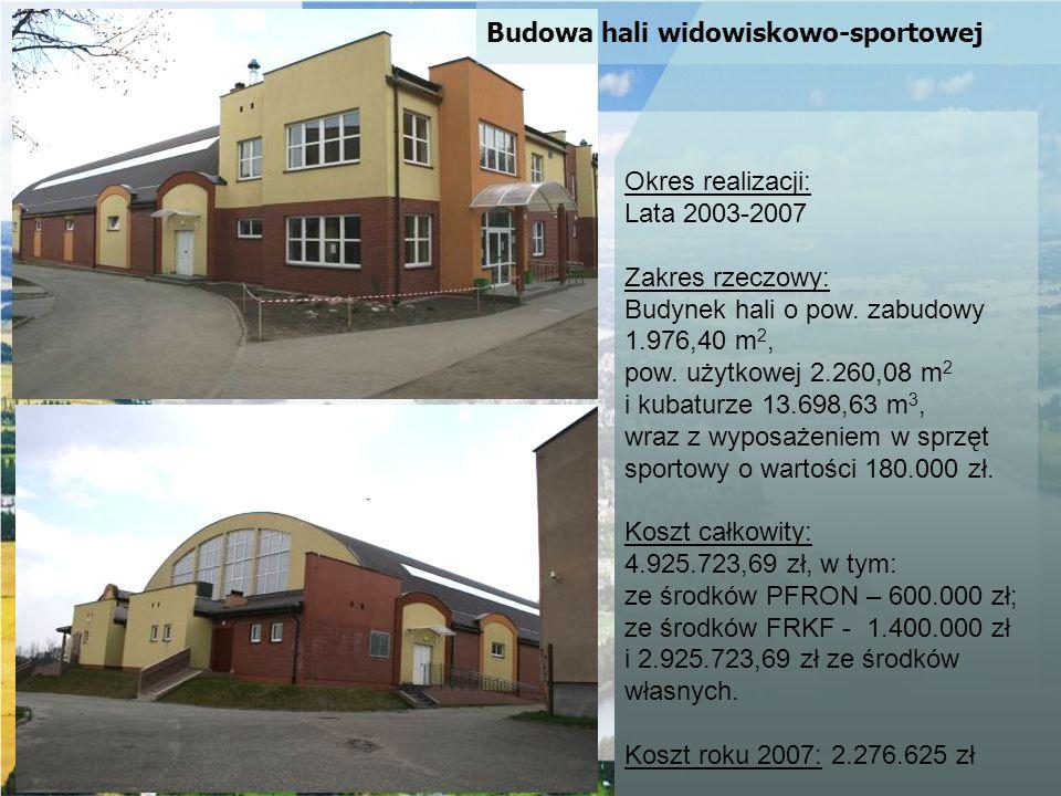 Okres realizacji: Lata 2003-2007. Zakres rzeczowy: Budynek hali o pow. zabudowy. 1.976,40 m2, pow. użytkowej 2.260,08 m2.