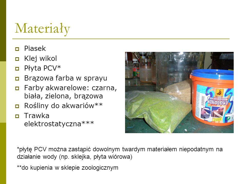 Materiały Piasek Klej wikol Płyta PCV* Brązowa farba w sprayu