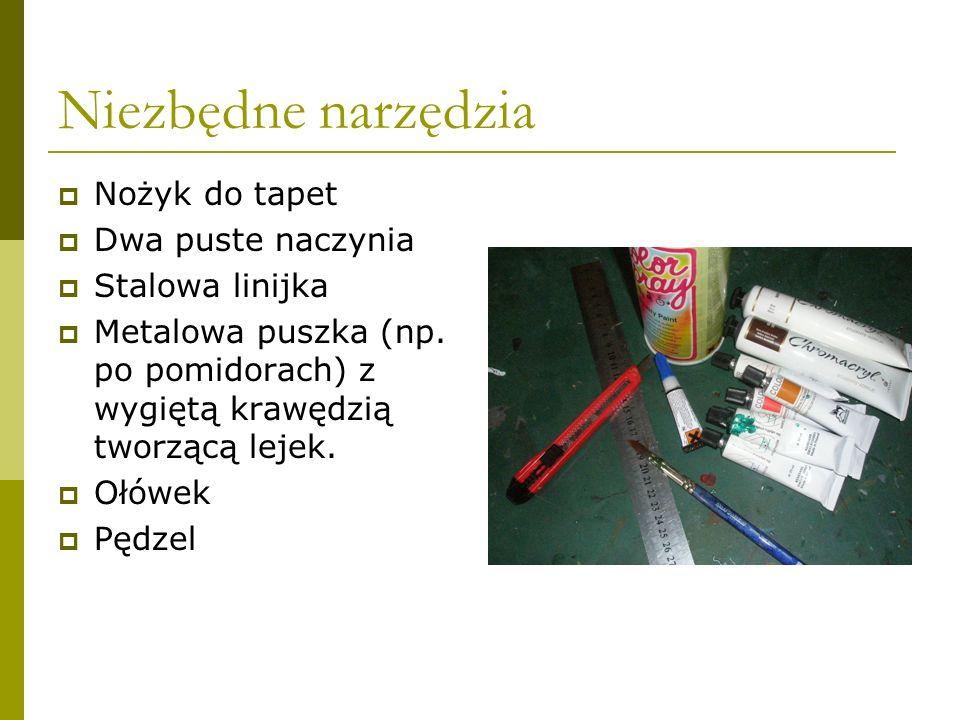 Niezbędne narzędzia Nożyk do tapet Dwa puste naczynia Stalowa linijka