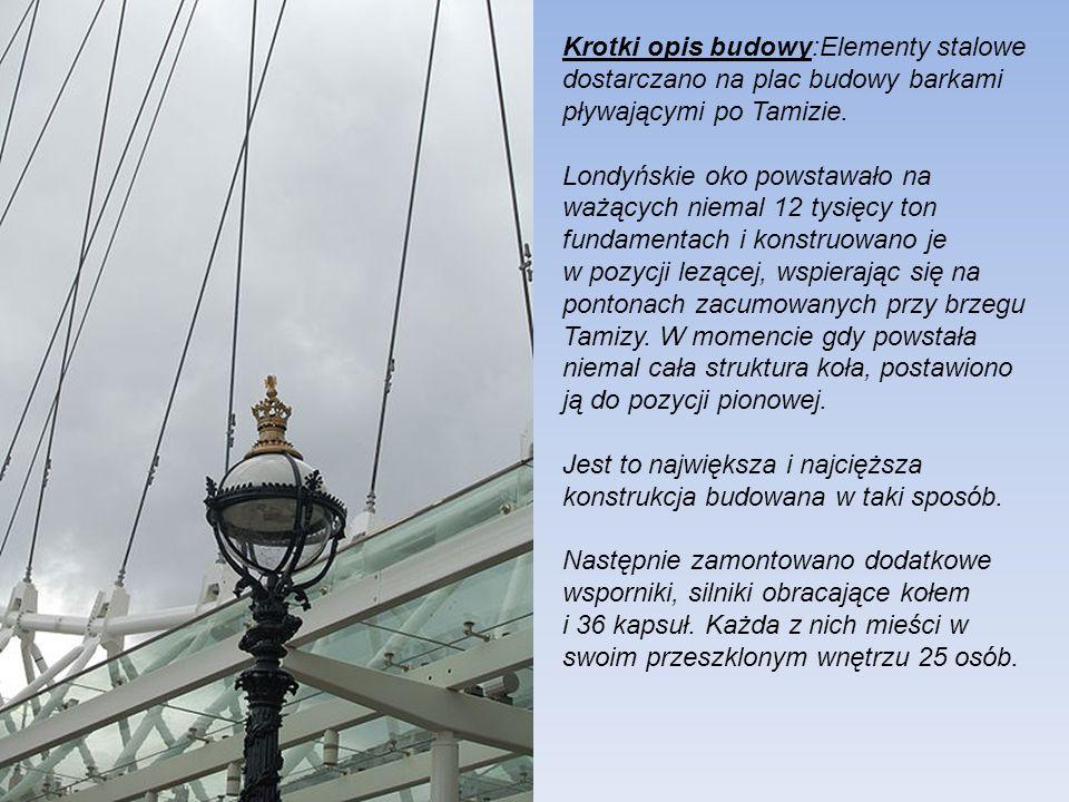 Krotki opis budowy:Elementy stalowe dostarczano na plac budowy barkami pływającymi po Tamizie.