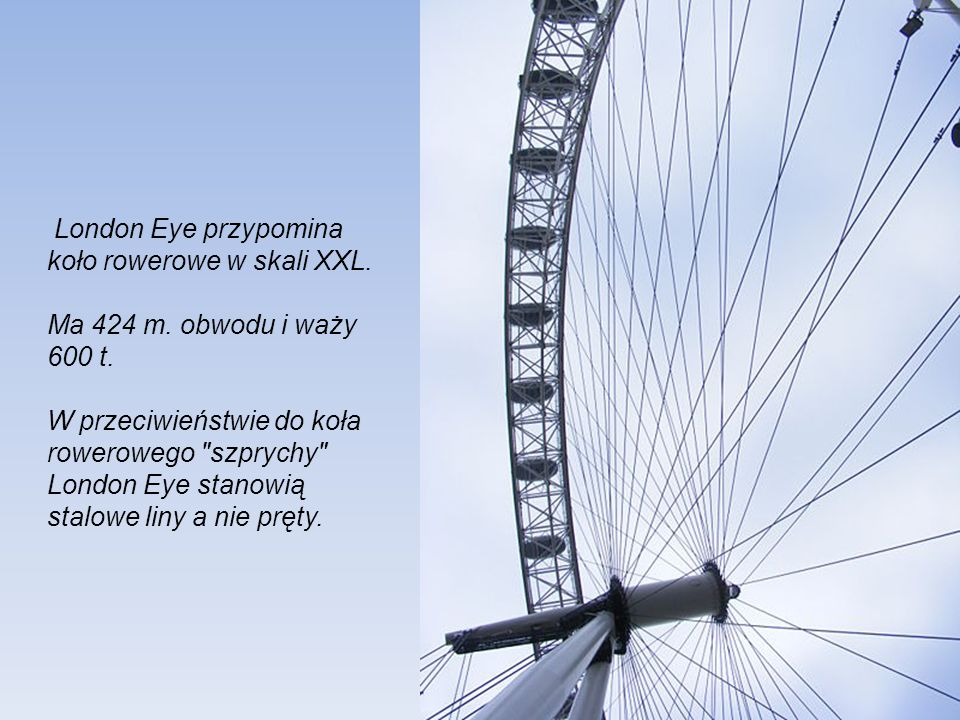 London Eye przypomina koło rowerowe w skali XXL.