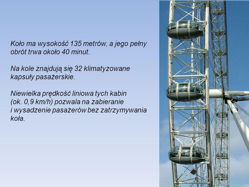 Koło ma wysokość 135 metrów, a jego pełny obrót trwa około 40 minut.