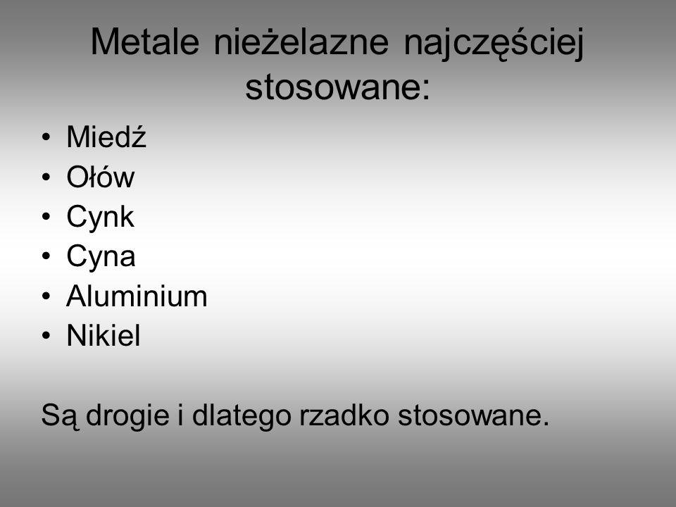 Metale nieżelazne najczęściej stosowane: