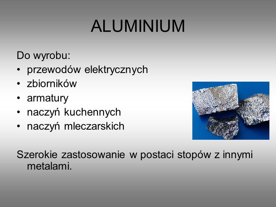 ALUMINIUM Do wyrobu: przewodów elektrycznych zbiorników armatury
