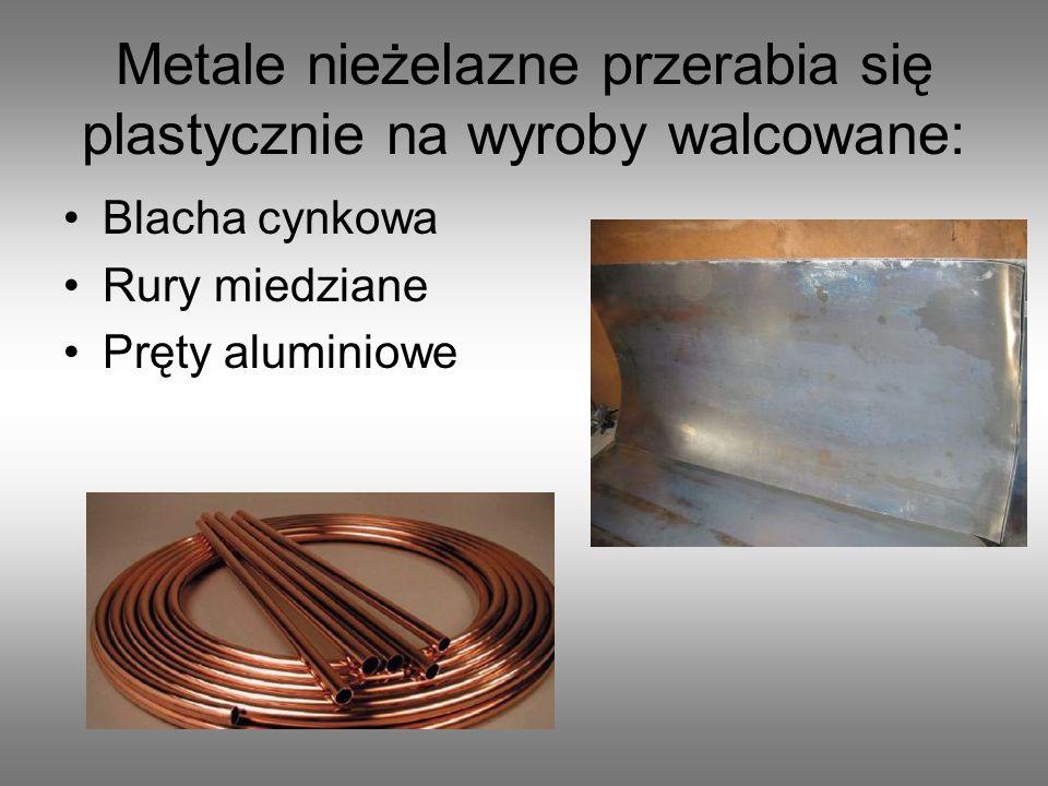 Metale nieżelazne przerabia się plastycznie na wyroby walcowane: