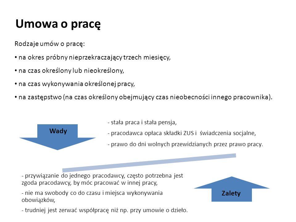 Umowa o pracę Rodzaje umów o pracę: