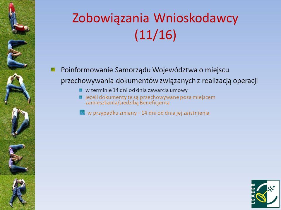 Zobowiązania Wnioskodawcy (11/16)