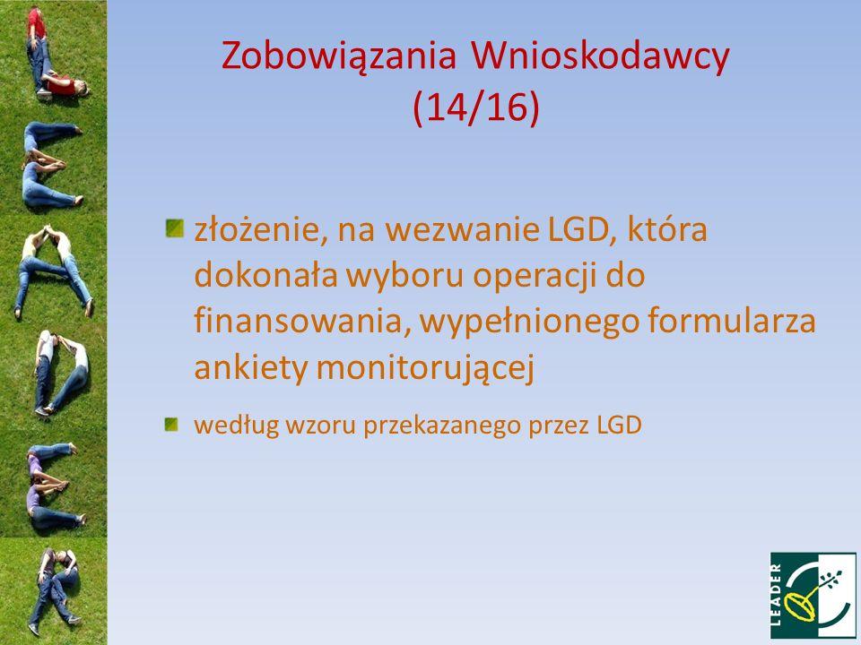 Zobowiązania Wnioskodawcy (14/16)
