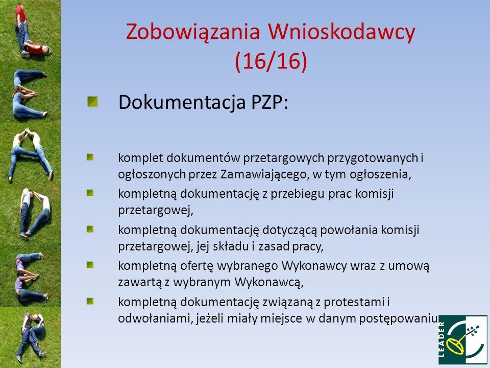Zobowiązania Wnioskodawcy (16/16)
